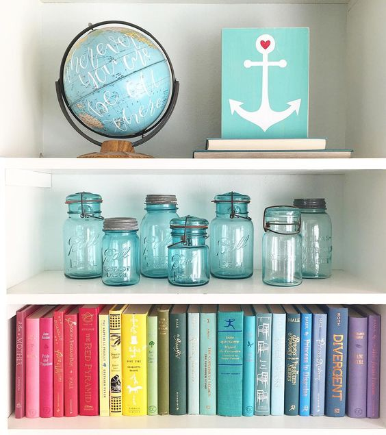 Rainbow-tized books. Love this look. | Home Decorating Ideas