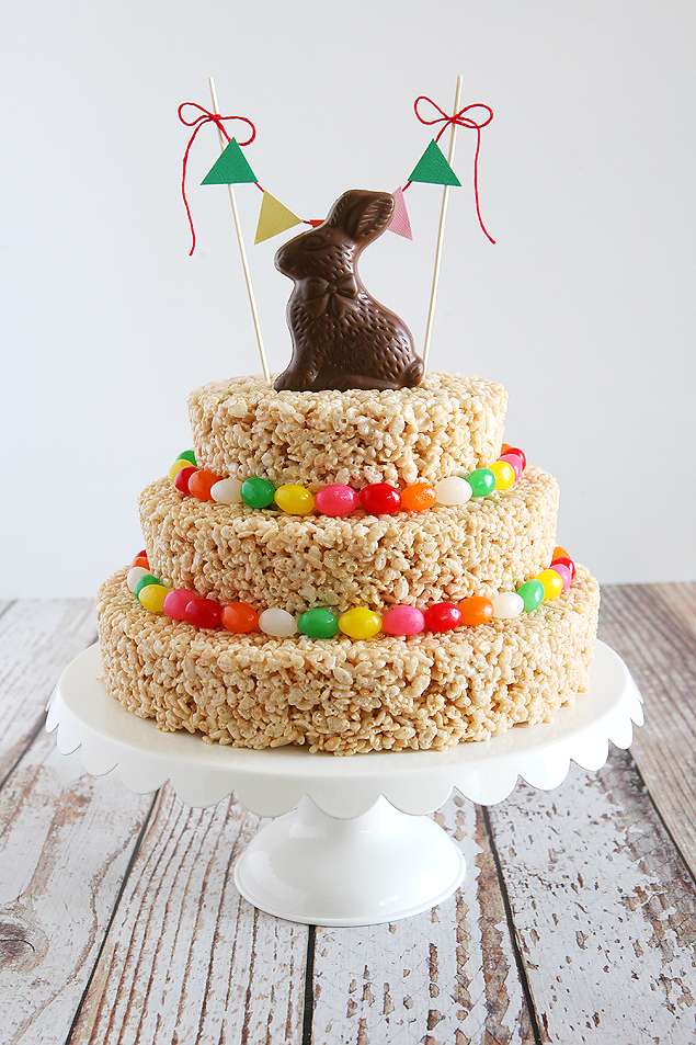 Easter rice krispies treat cake eighteen25 easter rice krispie treats cake make this awesome cake in about an hour ccuart Choice Image