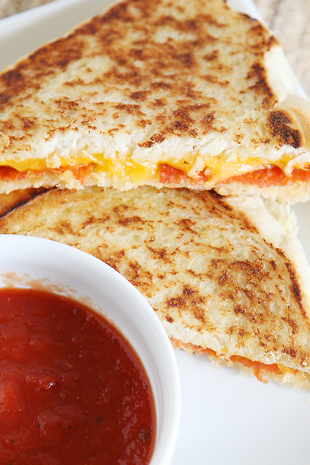 Grilled Cheese Sandwich Recipes | Pepperoni Pizza Grilled Cheese