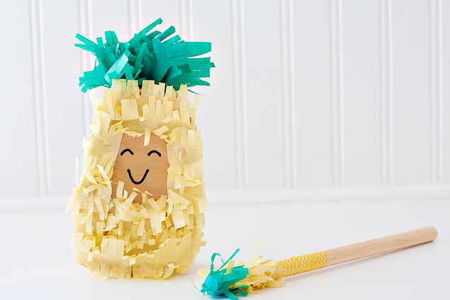 DIY fruity personal pinata! So cute! Pineapple, Strawberry and Watermelon. Cute free printables for teacher appreciation too!