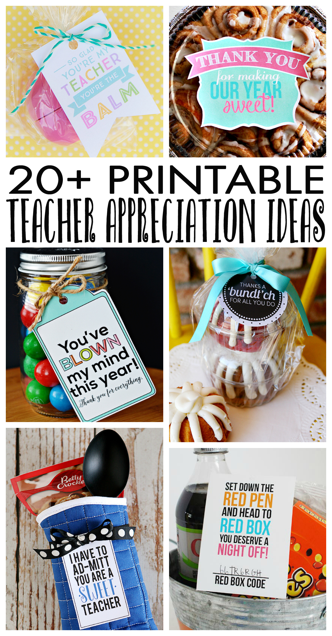 Over 20 Teacher Appreciation Ideas that include Free Printables!