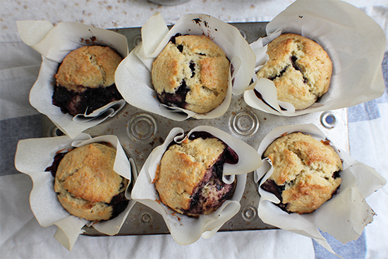 Blueberry Mint Honey Muffins