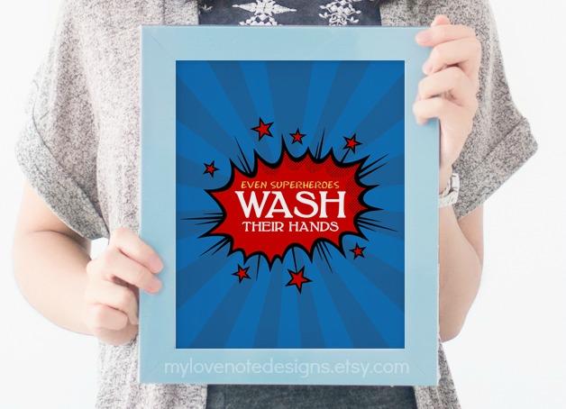 Free Printable Superhero Bathroom Art