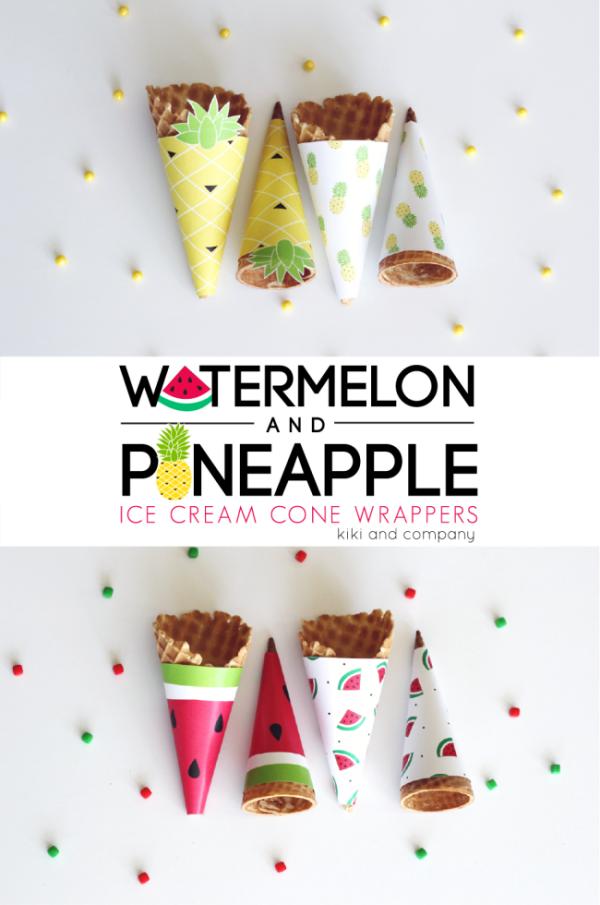 Watermelon-and-Pineapple-Ice-Cream-Cone-Wrappers.-Cute-e1465538509302