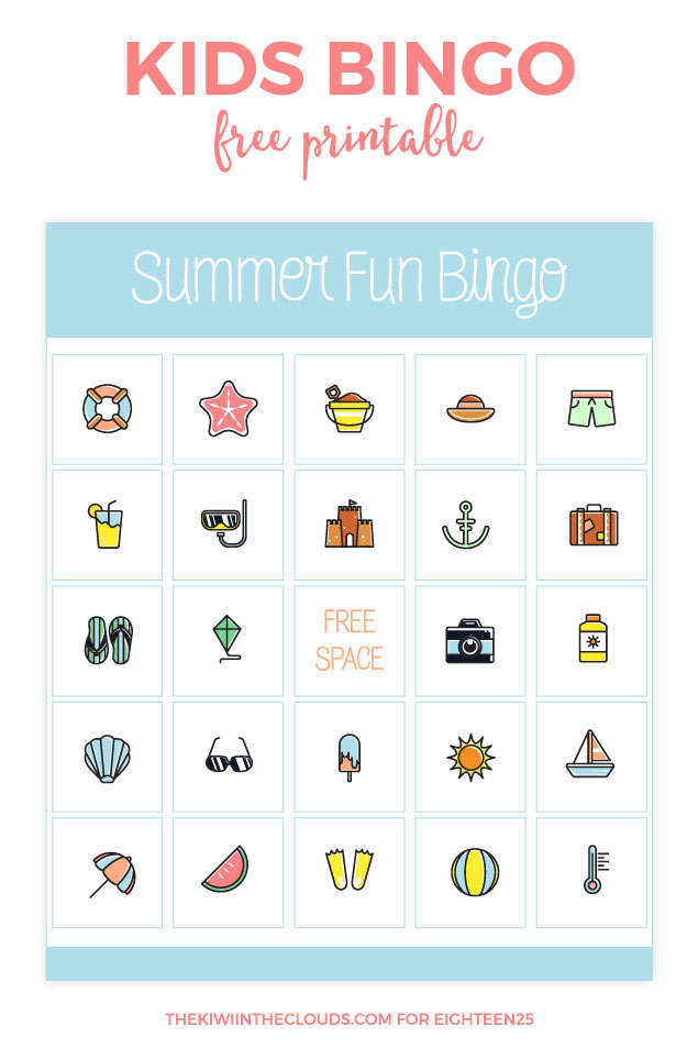 photograph relating to Printable Bingo for Kids called Summer time Enjoyment Bingo For Little ones - 1825