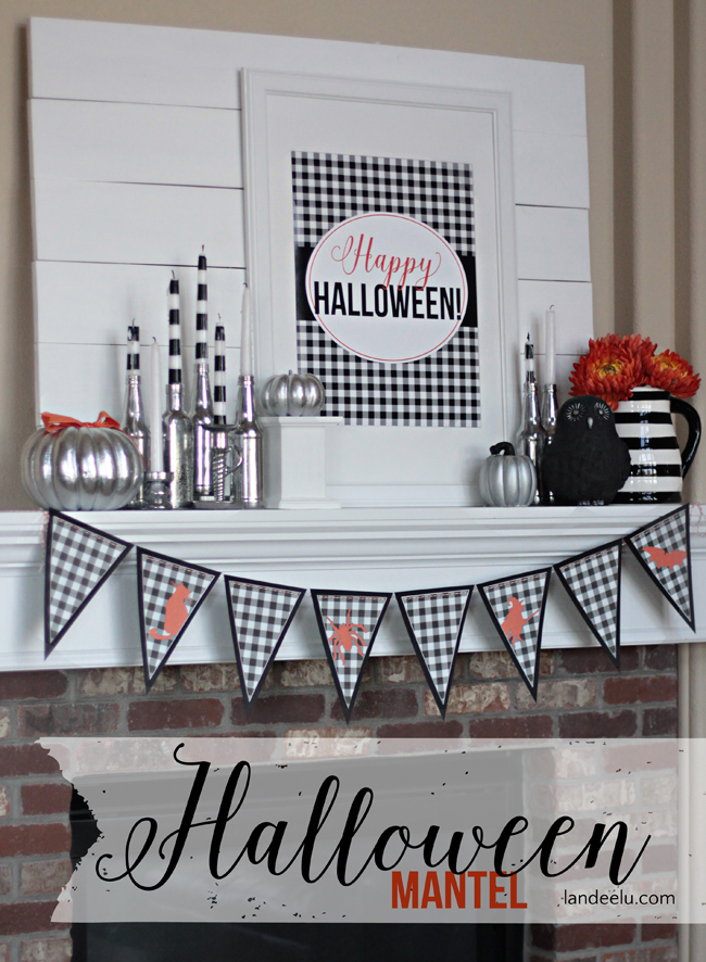 Buffalo Check Happy Halloween Mantel