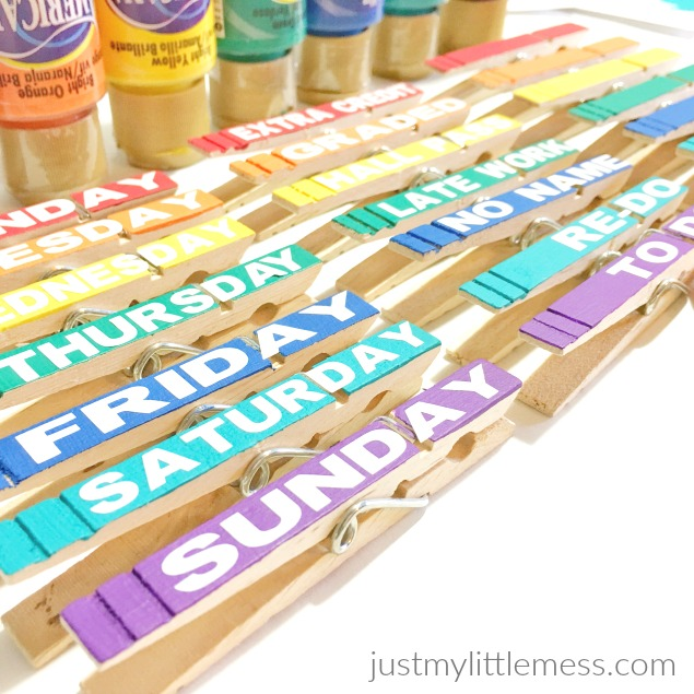 DIY Back to School Classroom Clothespins