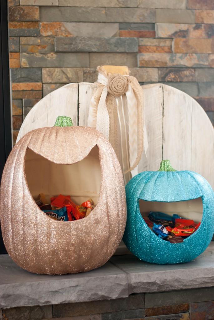 DIY Glitter Pumpkin Candy Holders