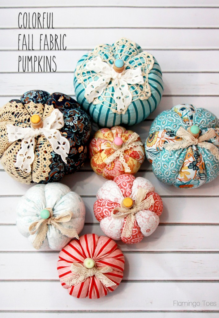 Easy Colorful Fall Fabric Pumpkins