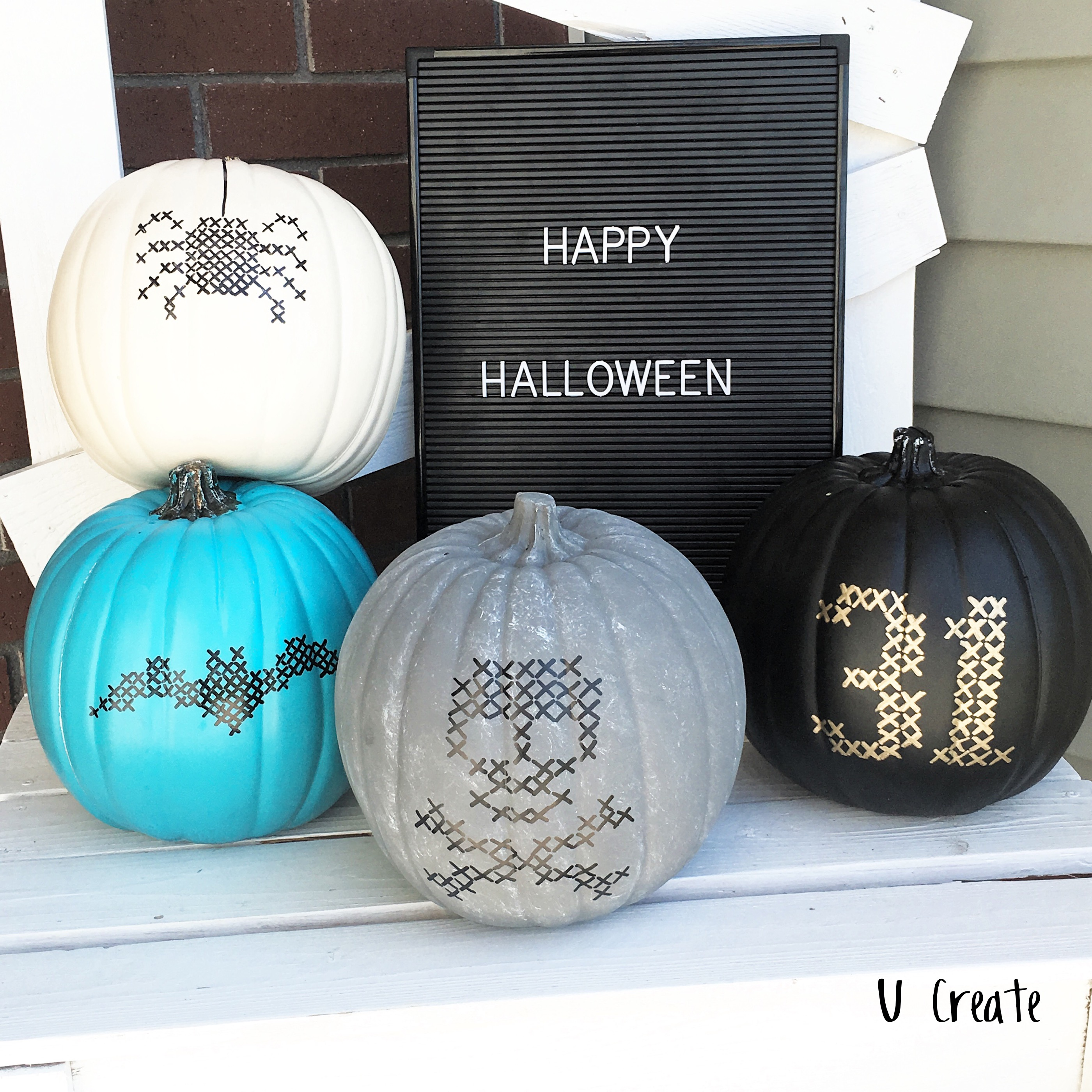 Faux-stitched Halloween Pumpkins