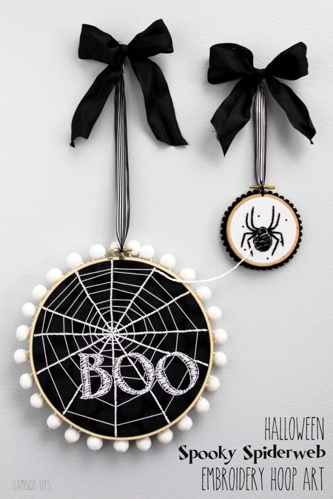 Halloween Spooky Spiderweb Embroidery Hoop Art