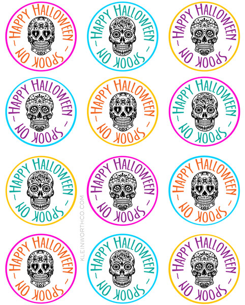This is a picture of Halloween Gift Tags Printable regarding no tricks just treats