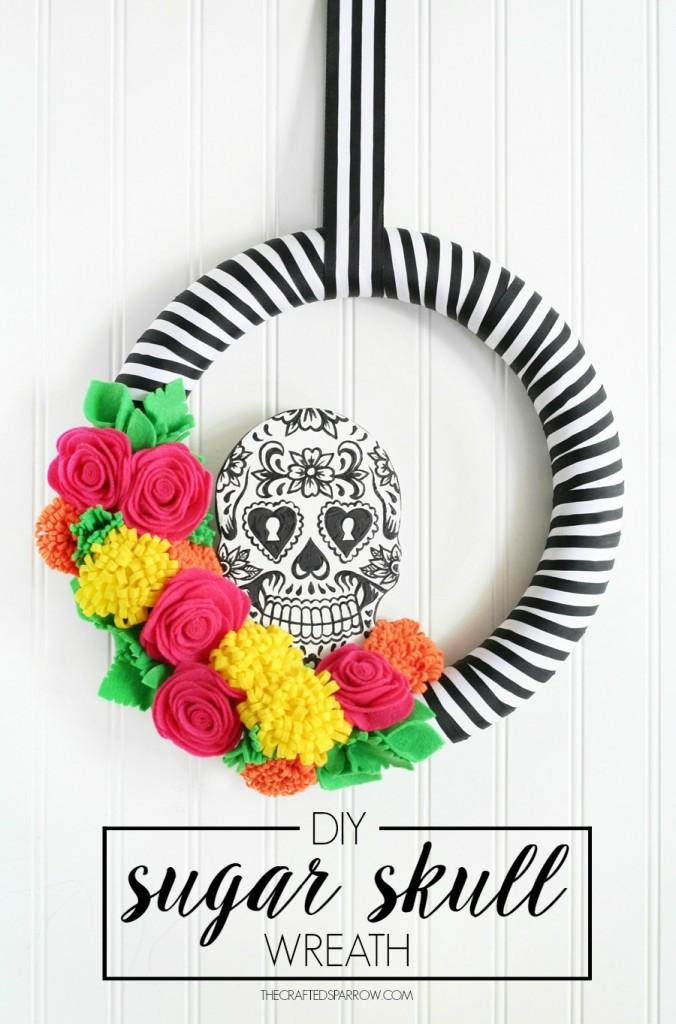 Halloween Decor   DIY Sugar Skull Wreath