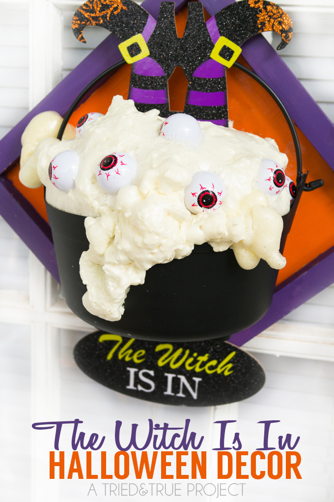 The Witch Is In Halloween Decor | Fun Halloween project using supplies from the dollar store!
