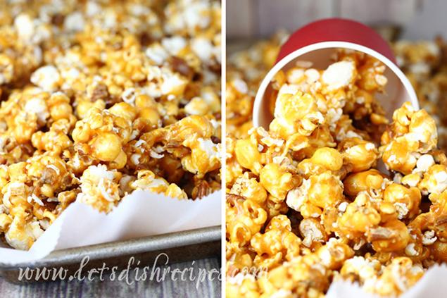 Spicy Caramel Pecan Popcorn | Caramel Popcorn Recipes