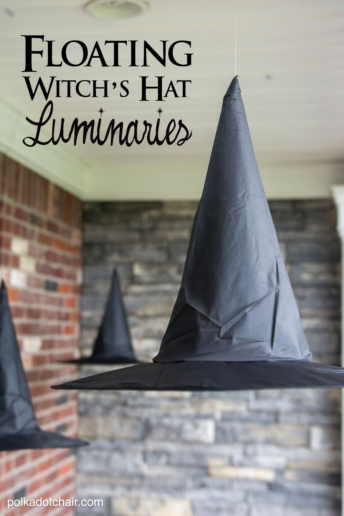 The best halloween party ideas eighteen25 floating witchs hat luminaries polkadot chair floating witchs hat luminaries solutioingenieria Image collections