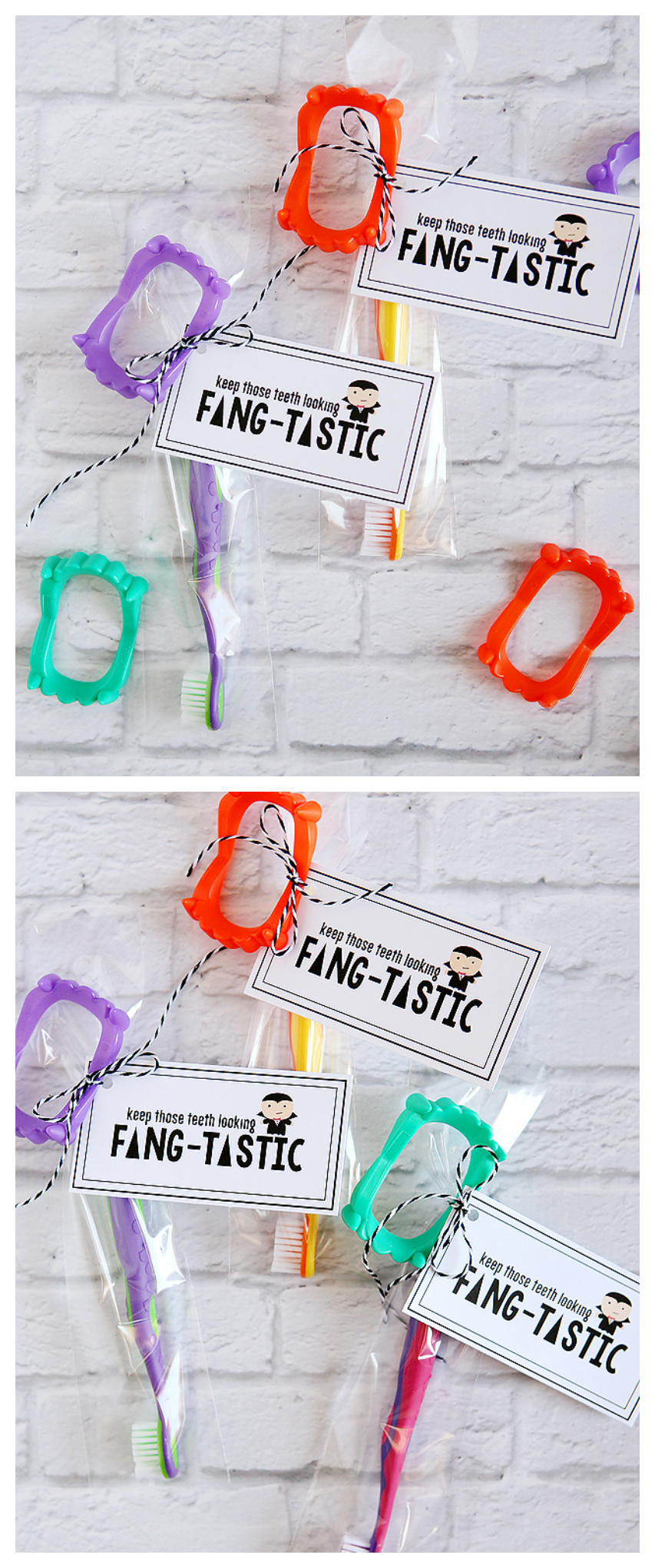 Keep Those Teeth Looking FANG-TASTIC | Halloween Gift Ideas that include the free printable tags!