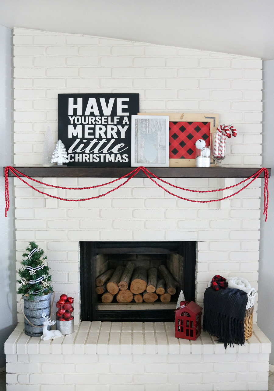 Christmas Mantels | Buffalo Check Holiday Mantel by The Crafted Sparrow