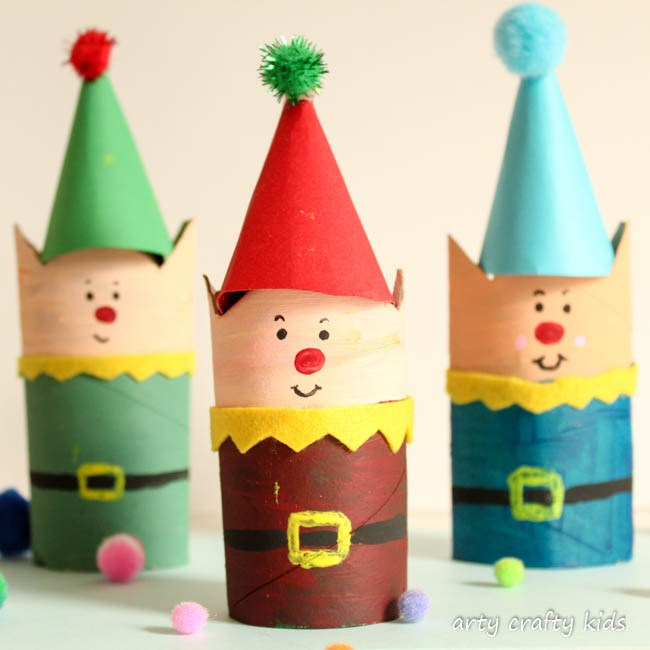 Cardboard Tube Christmas Elf | Christmas Crafts for Kids