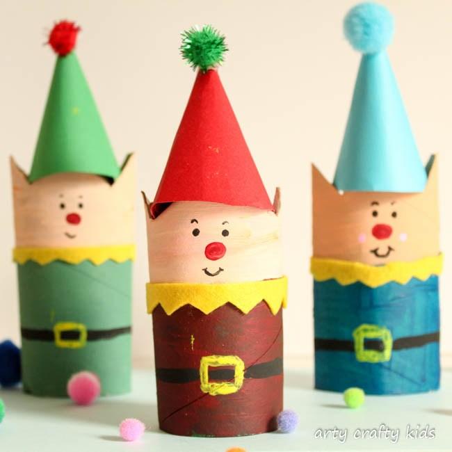 Cardboard Tube Christmas Elf | Christmas Crafts for Kids