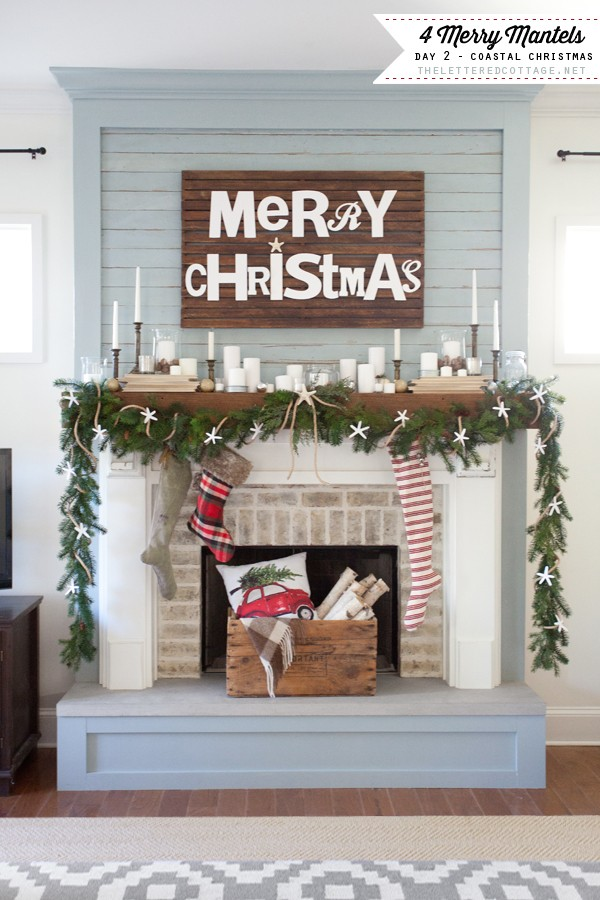Christmas Mantels | Coastal Christmas Mantel by The Lettered Cottage