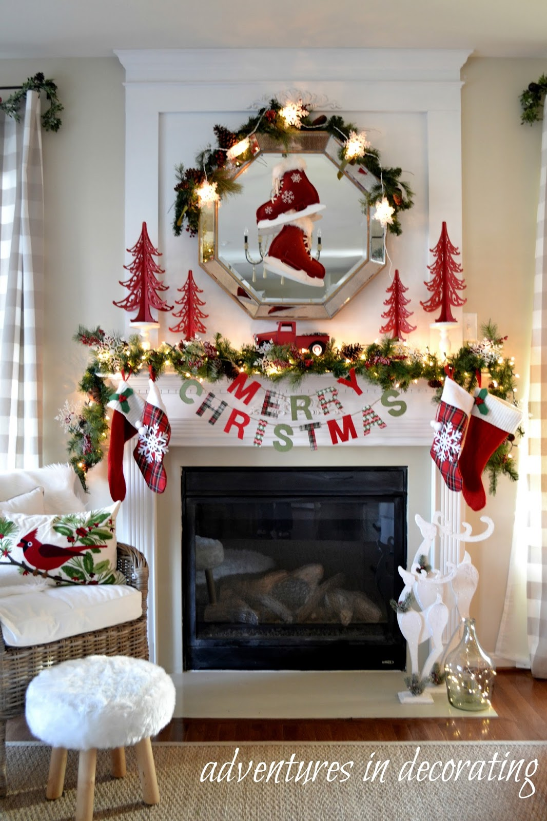 Christmas Mantels | Merry Christmas Mantel by Adventures in Decorating