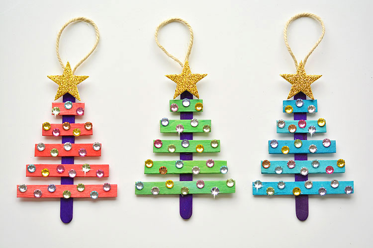 Popsicle Stick Christmas Trees | Christmas Kids Crafts