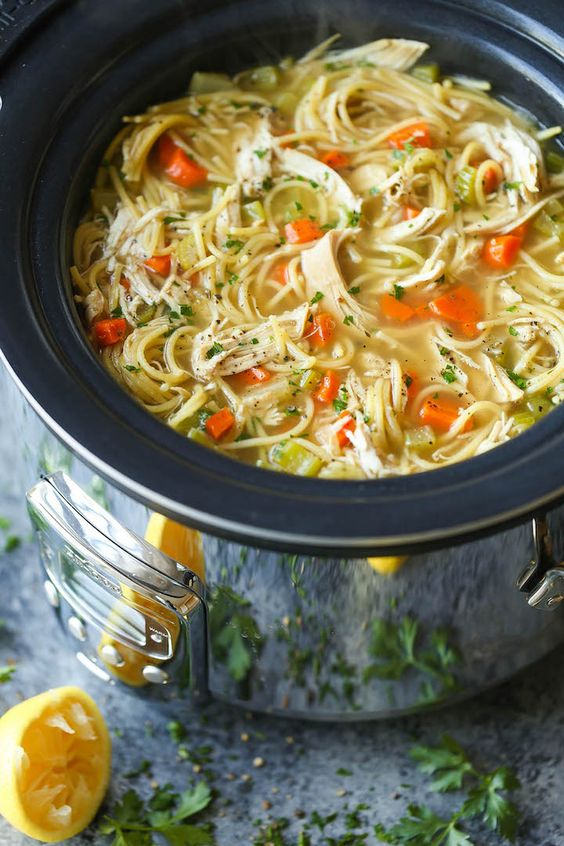 Our Friday Five | Slow Cooker Chicken Noodle Soup from Damn Delicious