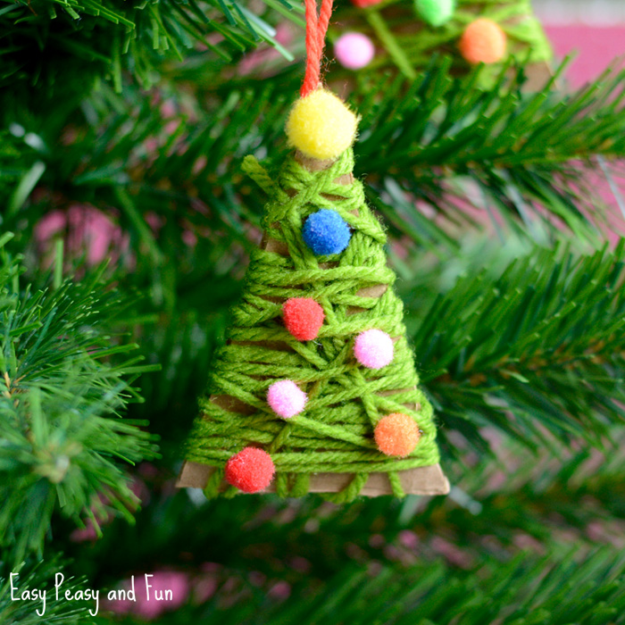 Christmas Crafts for Kids | Yarn Wrapped Christmas Tree Ornaments