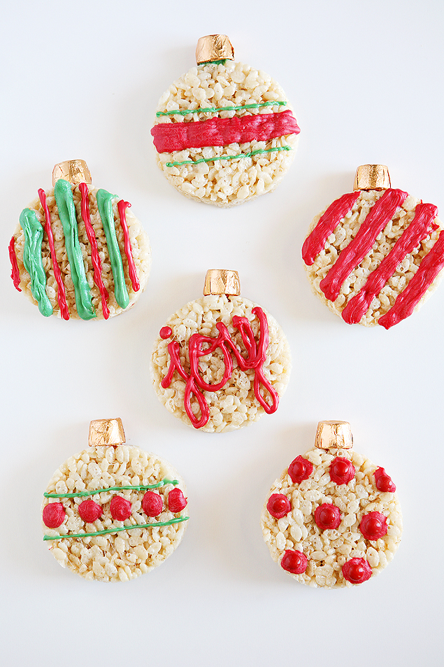 rice krispies treat christmas ornaments christmas treats