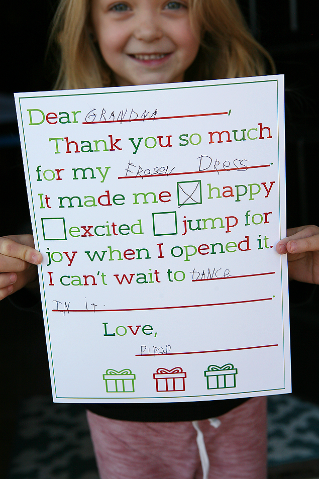Christmas Thank You Letters For Kids