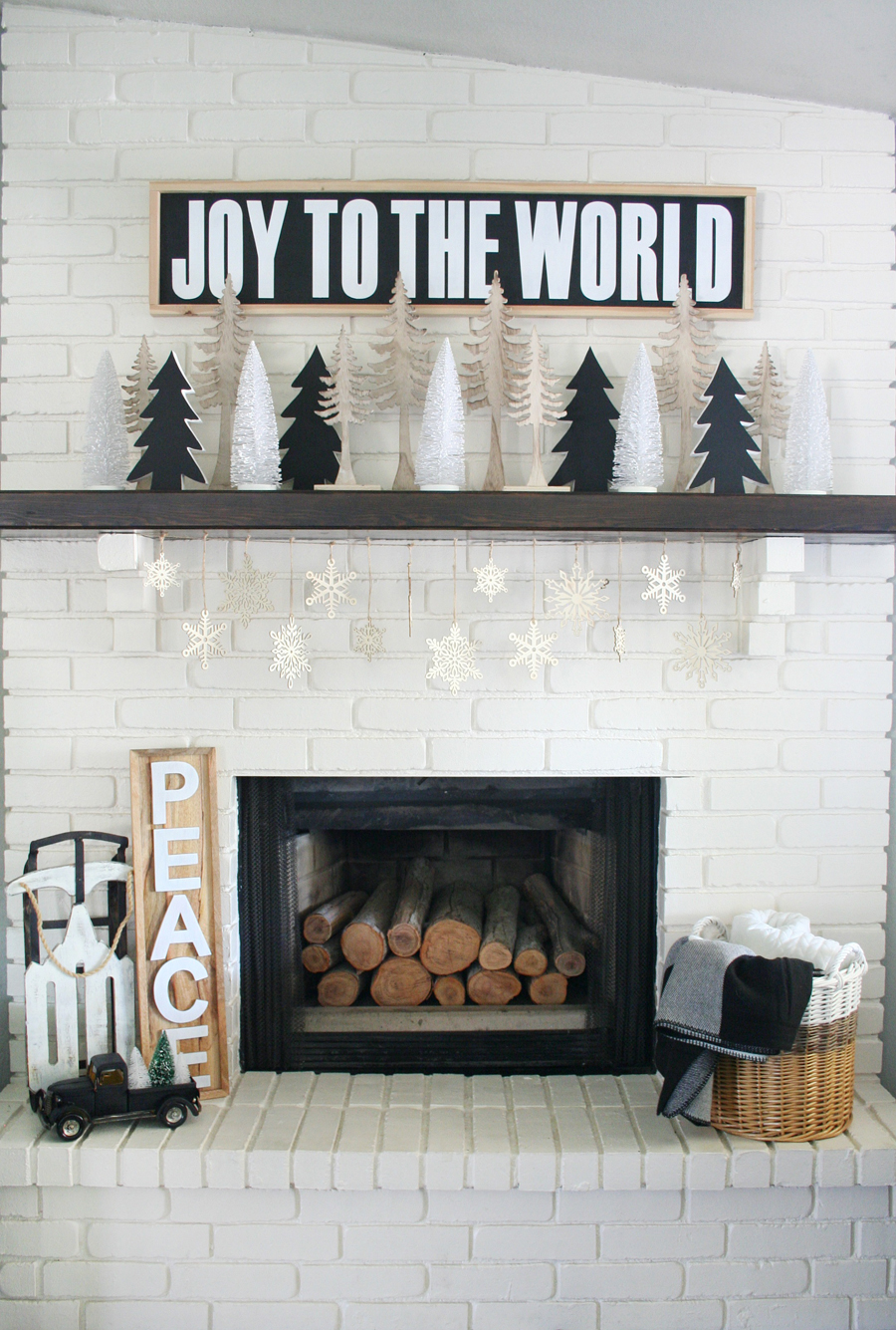 Christmas Mantels | Black and White Christmas Mantel by Crafted Sparrow