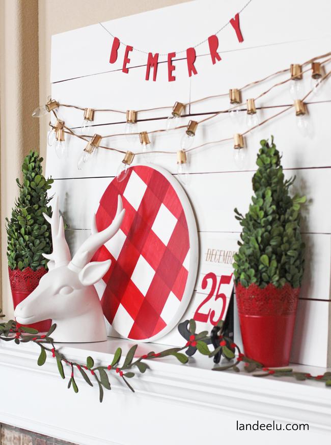 Christmas Mantels | Buffalo Check Christmas Mantel by Landeelu