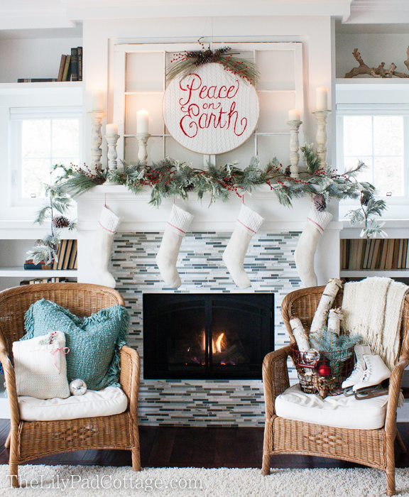 christmas mantels peace on earth mantel by the lily pad cottage - Pictures Of Mantels Decorated For Christmas