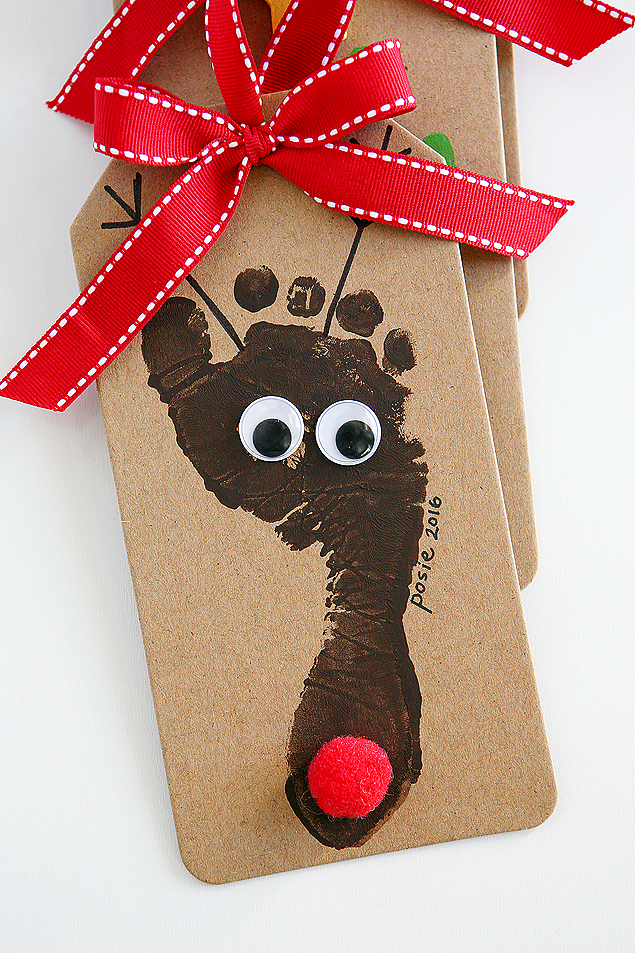 Reindeer Footprint Christmas Ornament | Handprint and footprint Christmas Ornaments