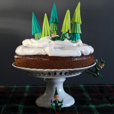 Gingerbread Cake with Snow Frosting