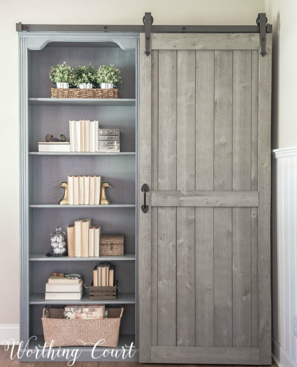 Farmhouse Bookcase Makeover via Worthing Court | Show and Tell Link Party