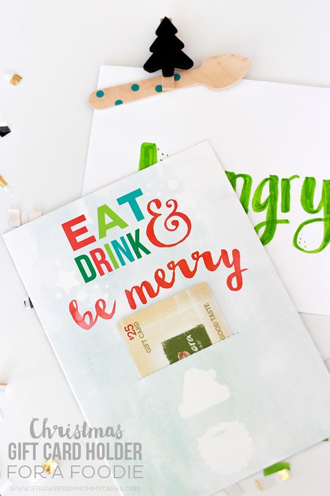 Neighbor Christmas Gift Ideas | Eat Drink & Be Merry Gift Card Holder | Printable Crush