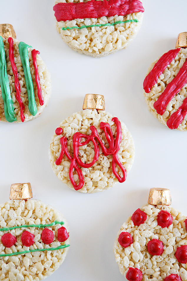 rice krispies treat christmas ornaments