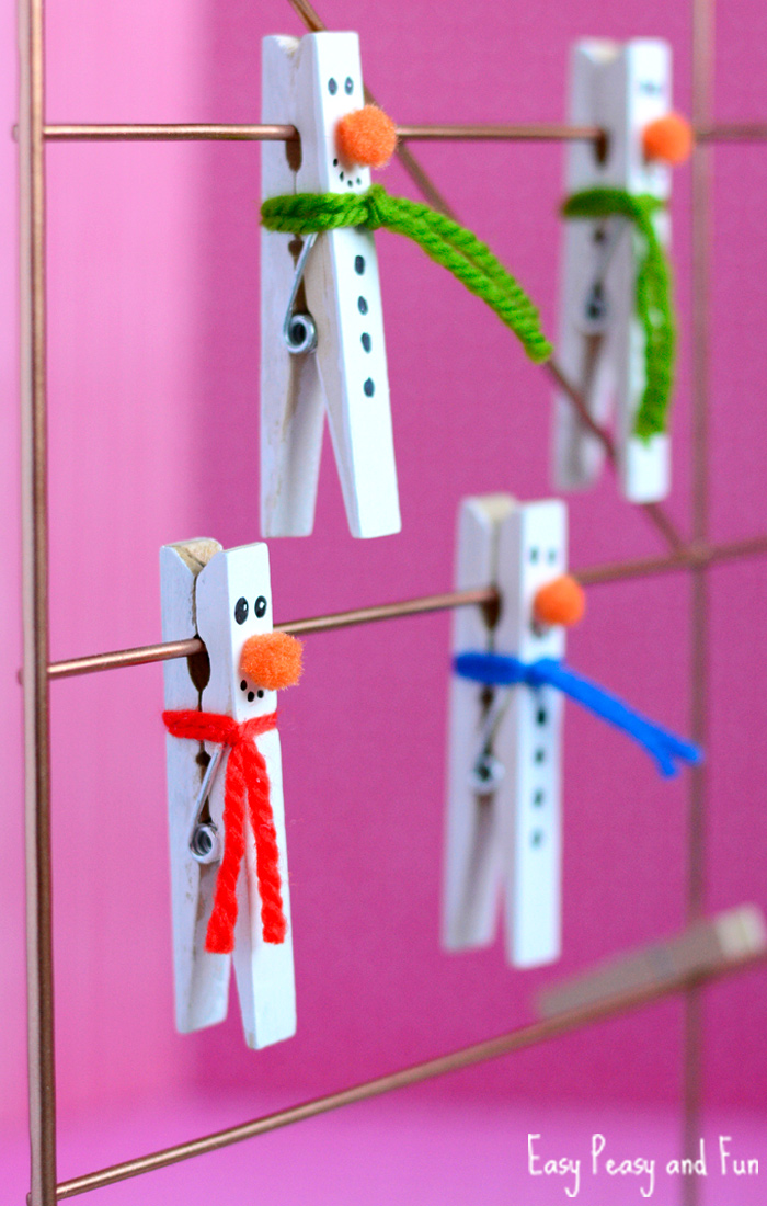 Clothespin Snowmen Craft | Christmas Crafts for Kids