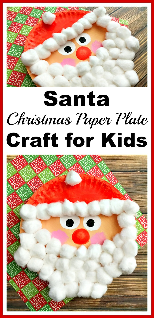 Paper Plate Santa Claus | Christmas crafts for kids