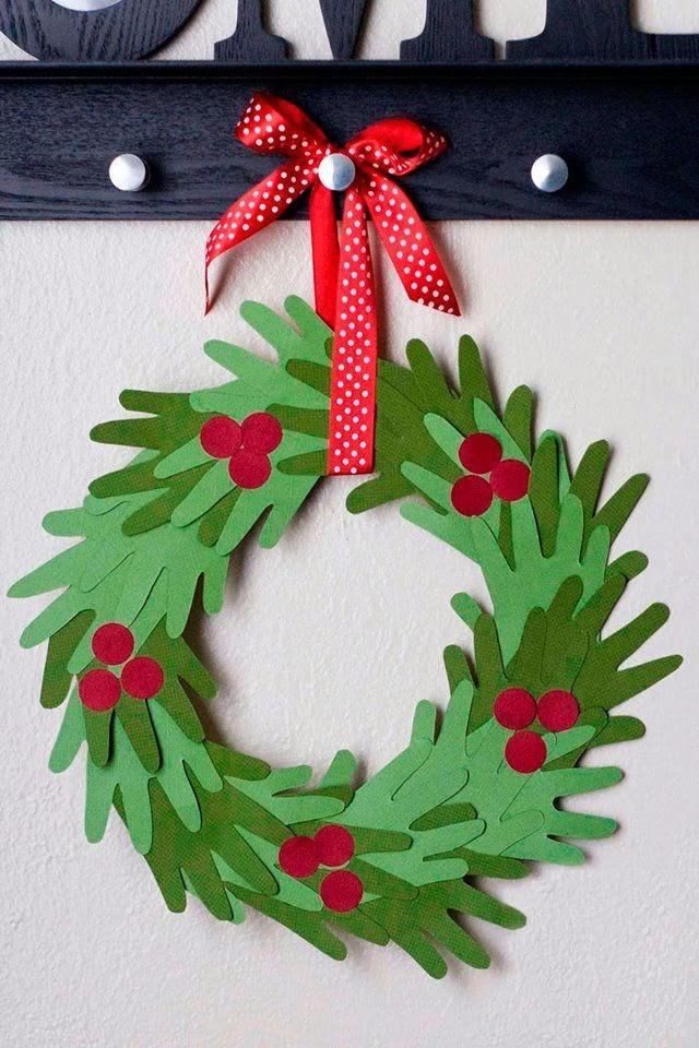 Paper Christmas Craft Ideas Part - 31: Handprint Christmas Wreath | Christmas Craft Ideas