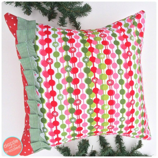 DIY Christmas Pillow Cover via Dazzle While Frazzled