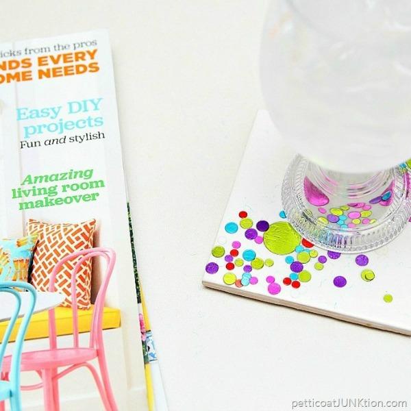 DIY Confetti Coasters via Petticoat JUNKtion
