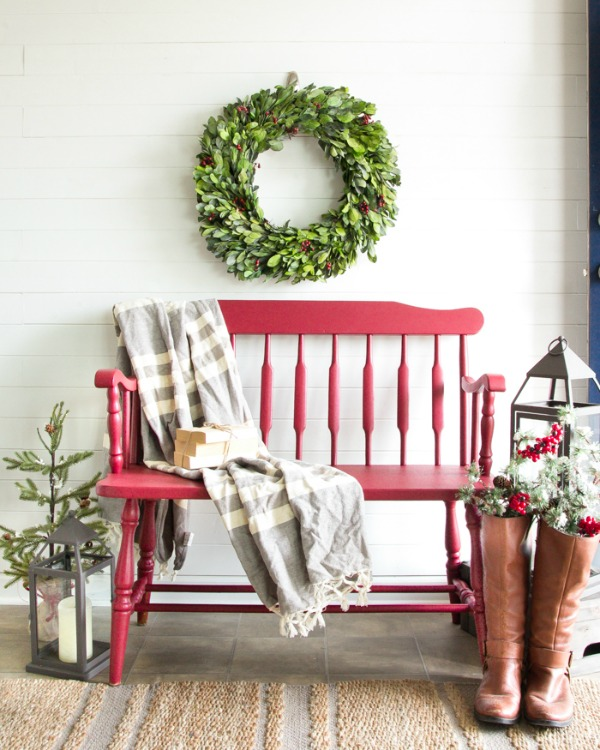 Cranberry Bench Makeover via Bless'er House