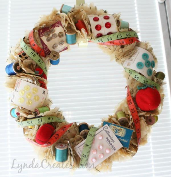 Sewing Notions Wreath via Lynda Creates