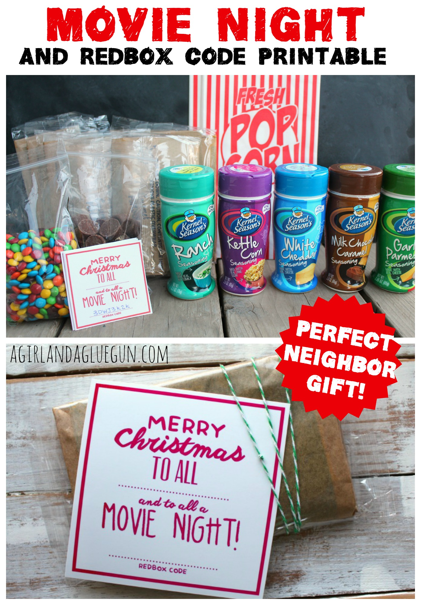 Neighbor Christmas Gift Ideas | Movie Night Gift Idea | A Girl and a Glue Gun