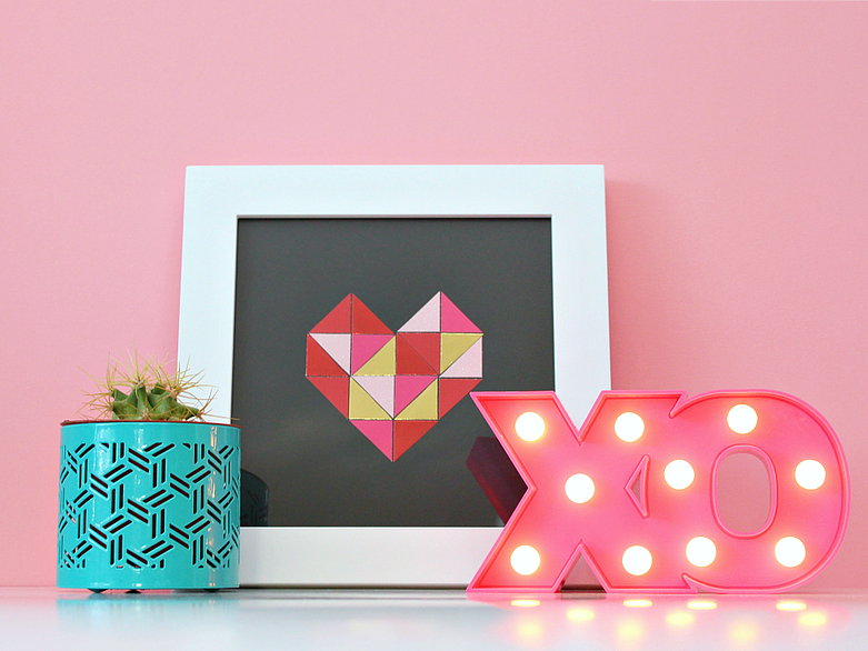 Paper Geometric Heart Art via White House Crafts
