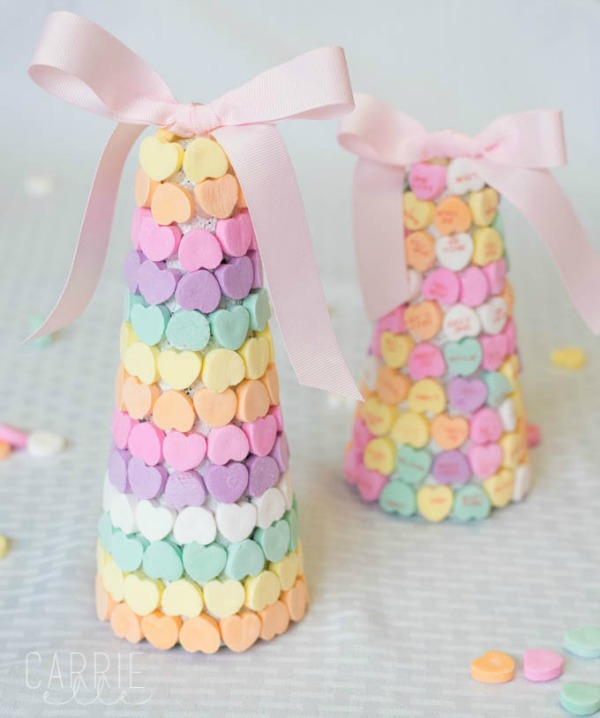 Candy Heart Trees via Carrie Elle