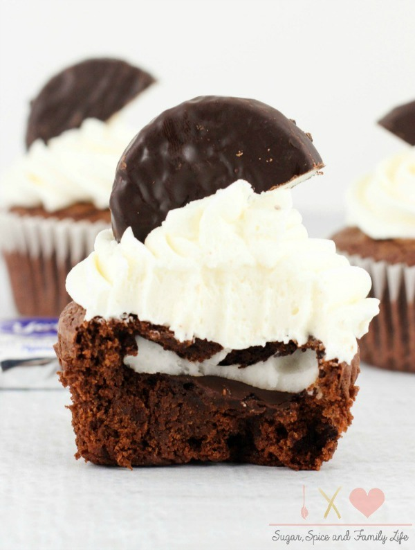 Peppermint Patty Brownie Cupcakes via Sugar, Spice and Family Life